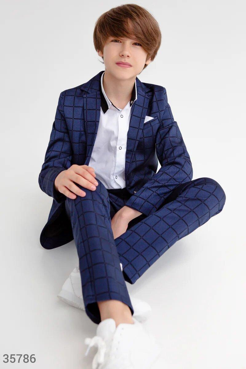 Синий костюм для мальчик,стильная клетка! 122,128, 134,140,146 рост