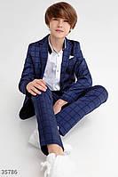 Синий костюм для мальчик,стильная клетка! 122,128, 134,140,146 рост, фото 1
