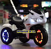 Детский трехколесный электро мотоцикл на аккумуляторе Bambi M 3683L-1 белый