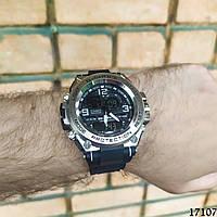 Мужские наручные часы серебристые в стиле Casio G-Shock с датой. Годинник чоловічий