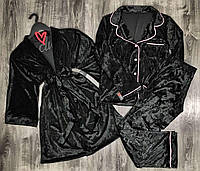 Велюровый халат+рубашка+штаны комплект тройка 084+029-черный.