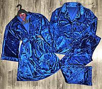Женский велюровый комплект домашней одежды халат+рубашка+штаны 084+029.