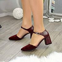 Туфли женские комбинированные на невысоком устойчивом каблуке, цвет бордо. 39 размер