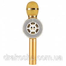 Беспроводной микрофон караоке блютуз WSTER WS-669 Bluetooth динамик USB Золотой