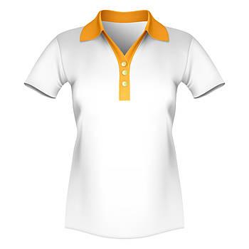 Женская футболка поло для сублимации, белый/оранжевый
