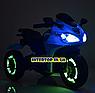 Детский трехколесный электро мотоцикл на аккумуляторе Bambi M 3683L-1 синий, фото 4