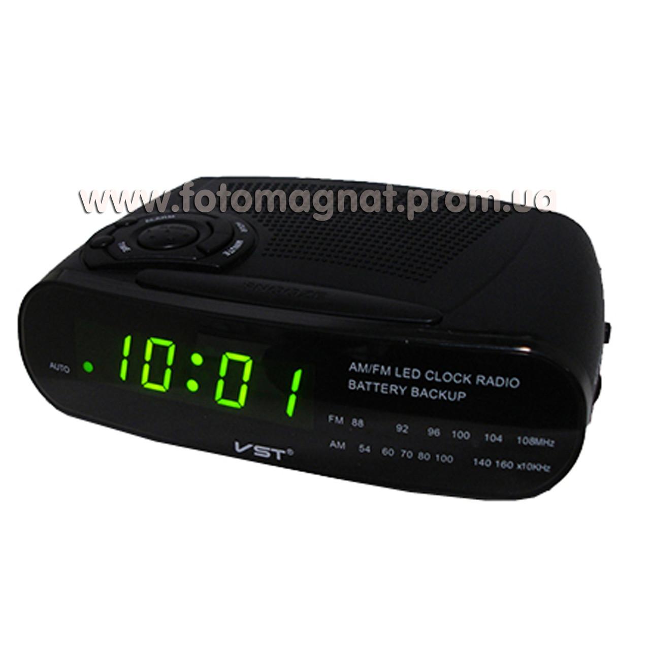 Часы сетевые VST 906-2 с  FM радио и Будильником, Зеленые