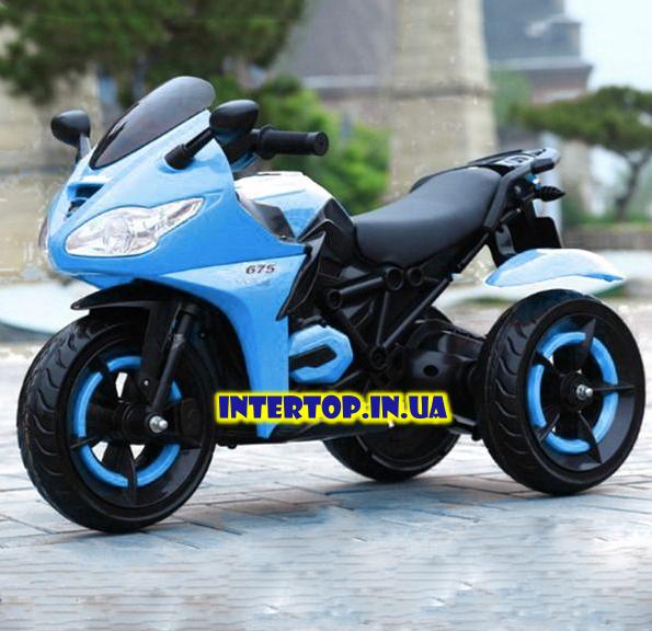 Детский трехколесный электро мотоцикл на аккумуляторе Bambi M 3683L-1 синий