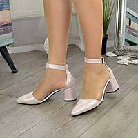 Туфли женские на невысоком устойчивом каблуке, натуральная кожа сатин розового цвета. 39 размер