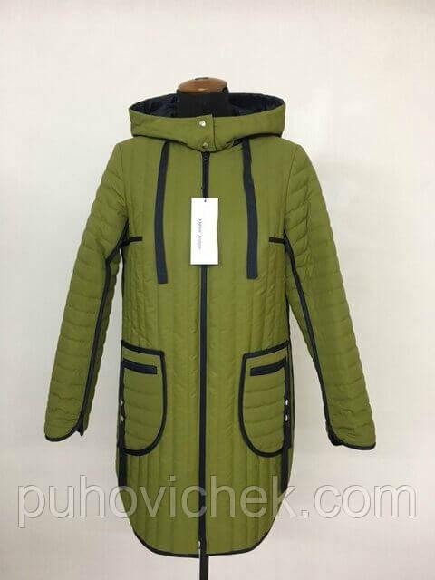 Женская куртка демисезонная с капюшоном удлиненная размеры 50-60