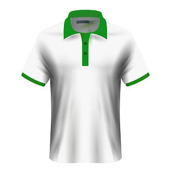 Мужская футболка поло для сублимации, белый/зеленый