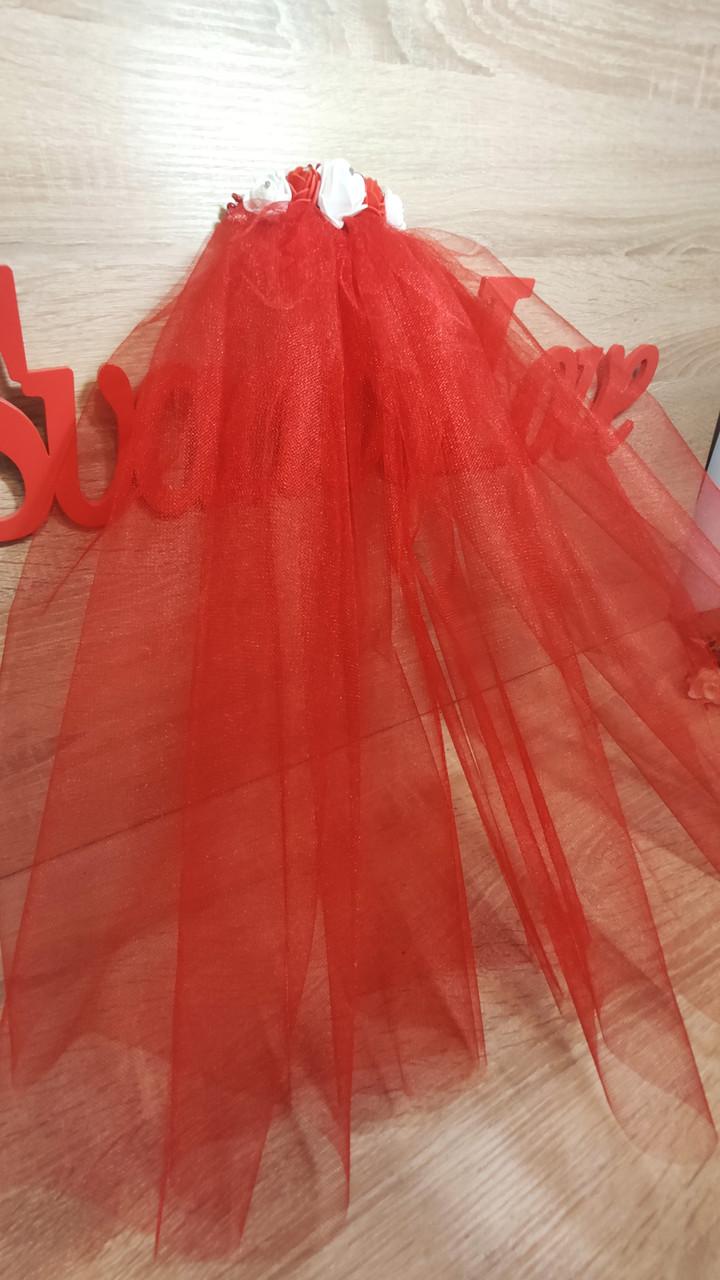 Фата для девичника на гребне Rose. Длина 50 см. Цвет красный.