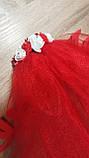 Фата для девичника на гребне Rose. Длина 50 см. Цвет красный., фото 3