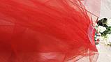 Фата для девичника на гребне Rose. Длина 50 см. Цвет красный., фото 4