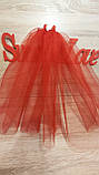 Фата для девичника на гребне Rose. Длина 50 см. Цвет красный., фото 2