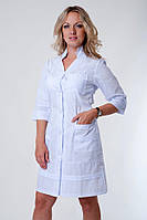 "Медичний халат жіночий ""Health Life"" батист білий 2131"