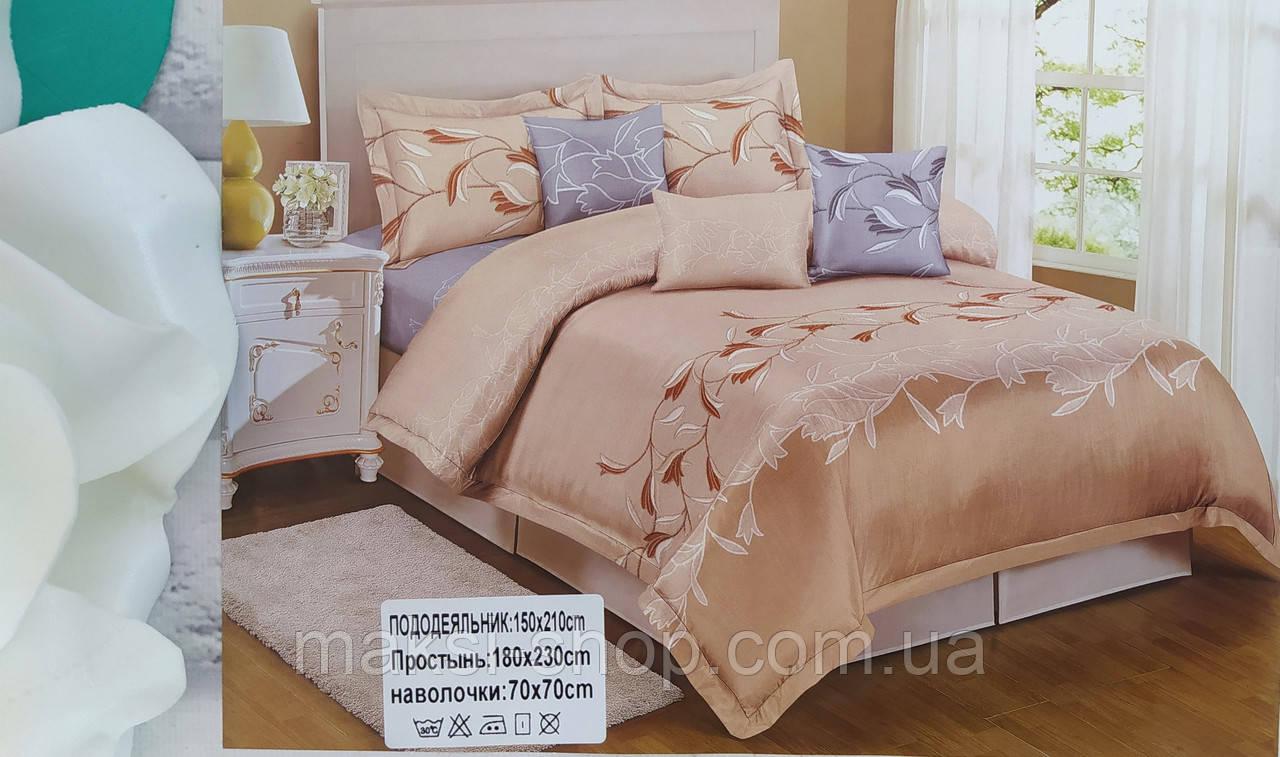 Комплект постельного белья полуторный мягкий сатин Luxury Home