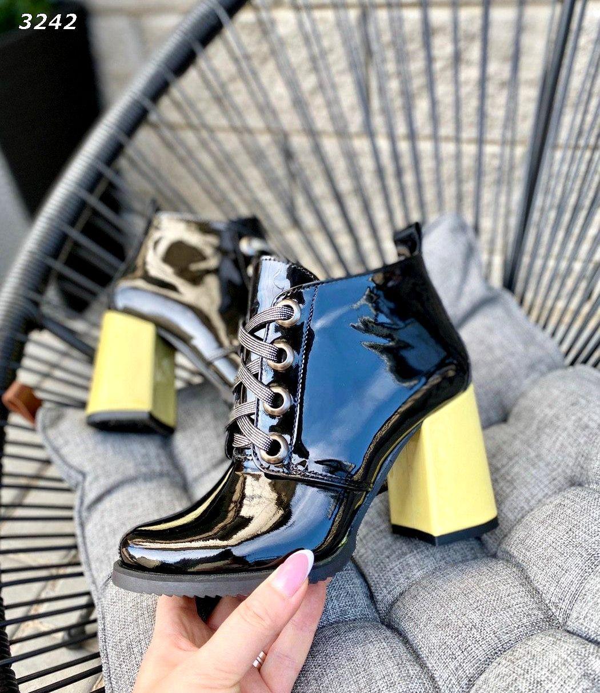 Кожаные лаковые ботинки на каблуке 38,40 р чёрный+жёлтый