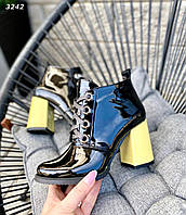 Кожаные лаковые ботинки на каблуке 38,40 р чёрный+жёлтый, фото 1