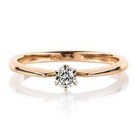 """Золота каблучка з діамантом """"Jane"""" (розмір 16)"""