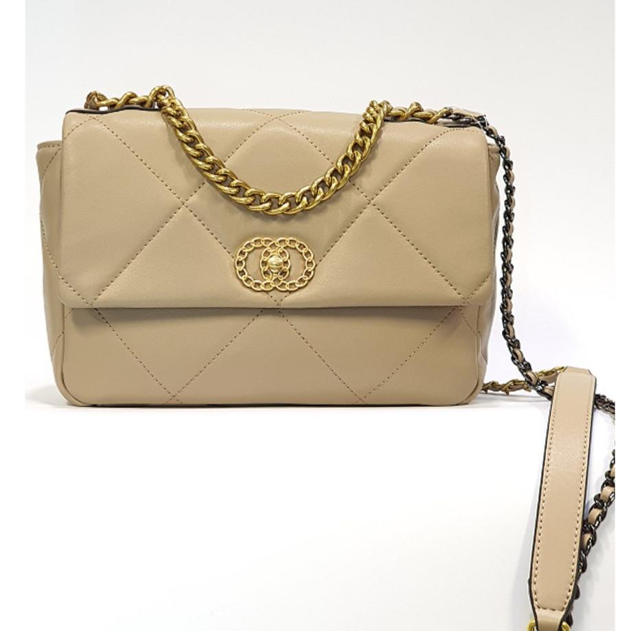 Женская бежевая сумочка из натуральной кожи среднего размера повседневная