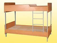 Кровать 2-ярусная, с закруглениями,  на металлическом каркасе — 1958х850х1778 мм