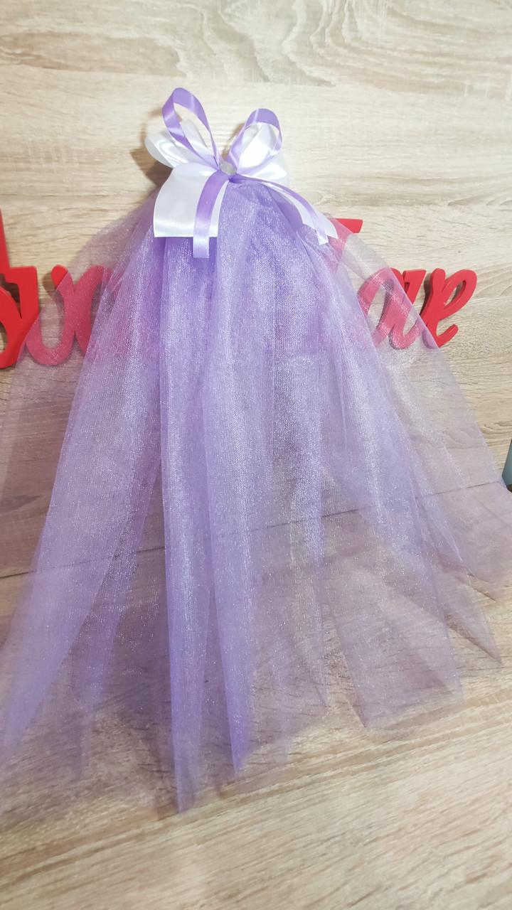 Фата для девичника на гребне Бант. Длина 50 см. Цвет лиловый.