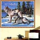 Алмазная вышивка волки 30х40 см, полная выкладка, фото 3
