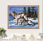 Алмазная вышивка волки 30х40 см, полная выкладка, фото 4