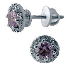 Серебряные серьги DreamJewelry с натуральным аметистом (2043577)