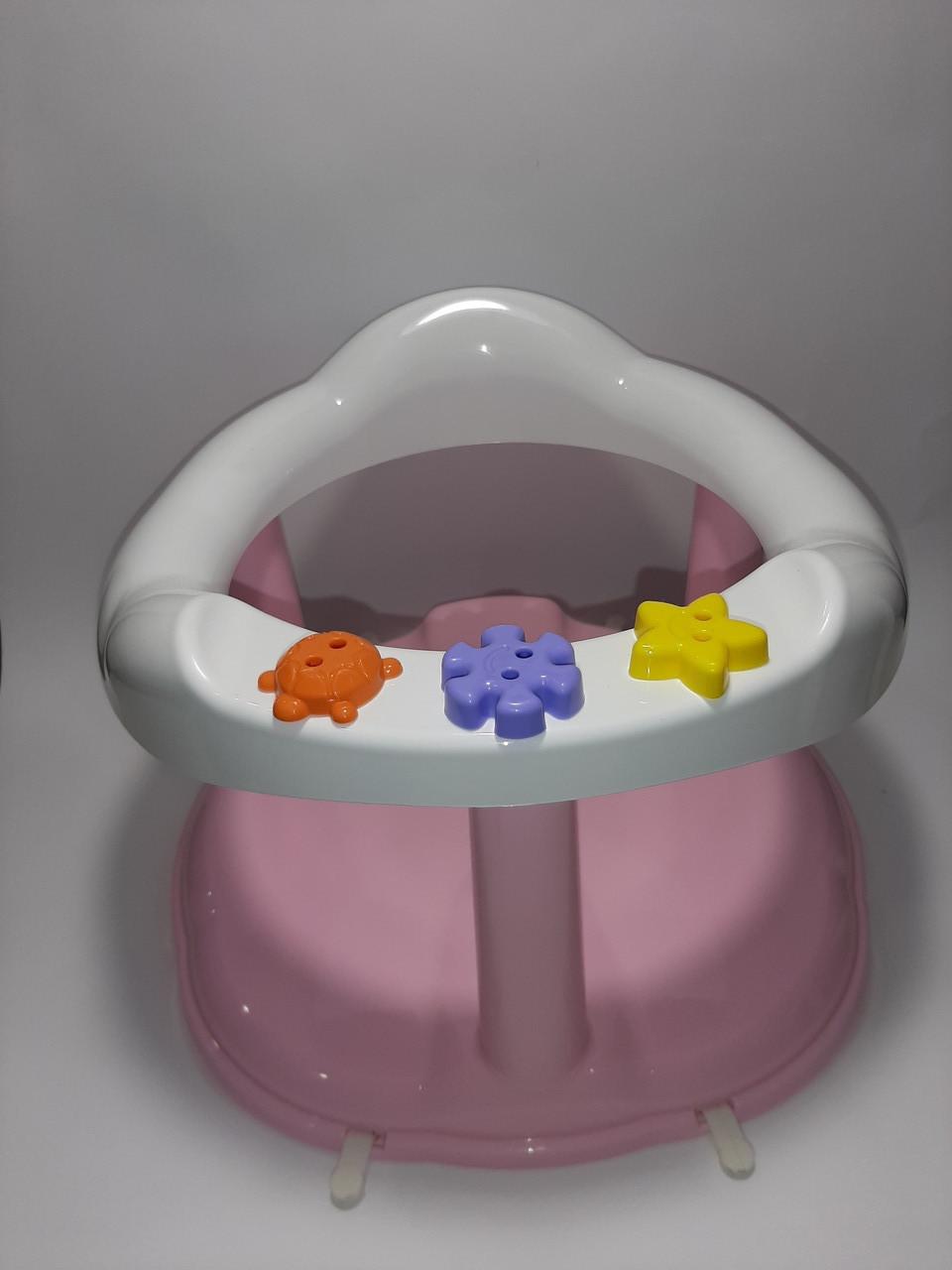 Стільчик для купання, сидіння для купання уна присосках рожевий