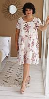 Качественное женское платье стильного фасона с модным принтом на лето
