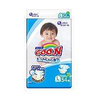 Підгузники GOO.N для дітей 9-14 кг колекція 2020 (розмір L, на липучках, унісекс, 54 шт)