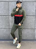 Спортивный костюм мужской New Balance осенний демисезонный хаки | Комплект кофта + штаны ЛЮКС