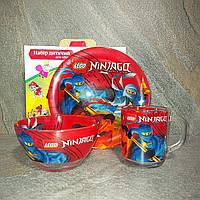 Набір дитячого посуду з ударостійкого скла Ninjago (Ниндзяго) 3 предмета (A9551/20)