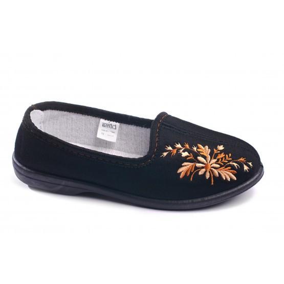 Тапочки туфли с задником женские Литма, Вышивка черные