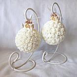 Декоративные шары из роз на подставке айвори для интерьера или свадьбы, фото 2