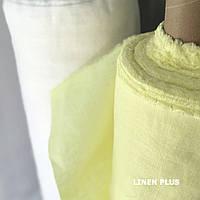 Лимонная льняная ткань, 100% лен, цвет 1603, CRASH EFFECT