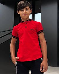 Красная детская футболка поло