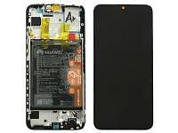 Дисплейный модуль черный с аккумулятором и динамиком голосовым для телефона Huawei P Smart 2019 02352JEY