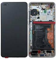 Дисплейный модуль с рамкой и батареей, белый для телефона Huawei P40, 02353MFW