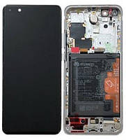 Дисплейный модуль с рамкой и батареей, белый для телефона Huawei P40 PRO, 02353PJK