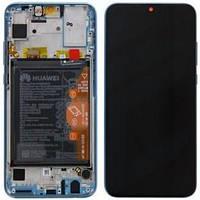 Дисплейный модуль с рамкой и батареей, синий для телефона Honor 10 lite, 02352HGU