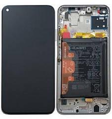 Дисплейный модуль с рамкой и батареей, голубой для телефона Huawei P40 lite, 02353KFV