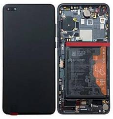 Дисплейный модуль с рамкой и батареей, черный для телефона Huawei P40, 02353MFA