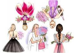 """Вафельна картинка  """"Дівчата з квітами"""""""