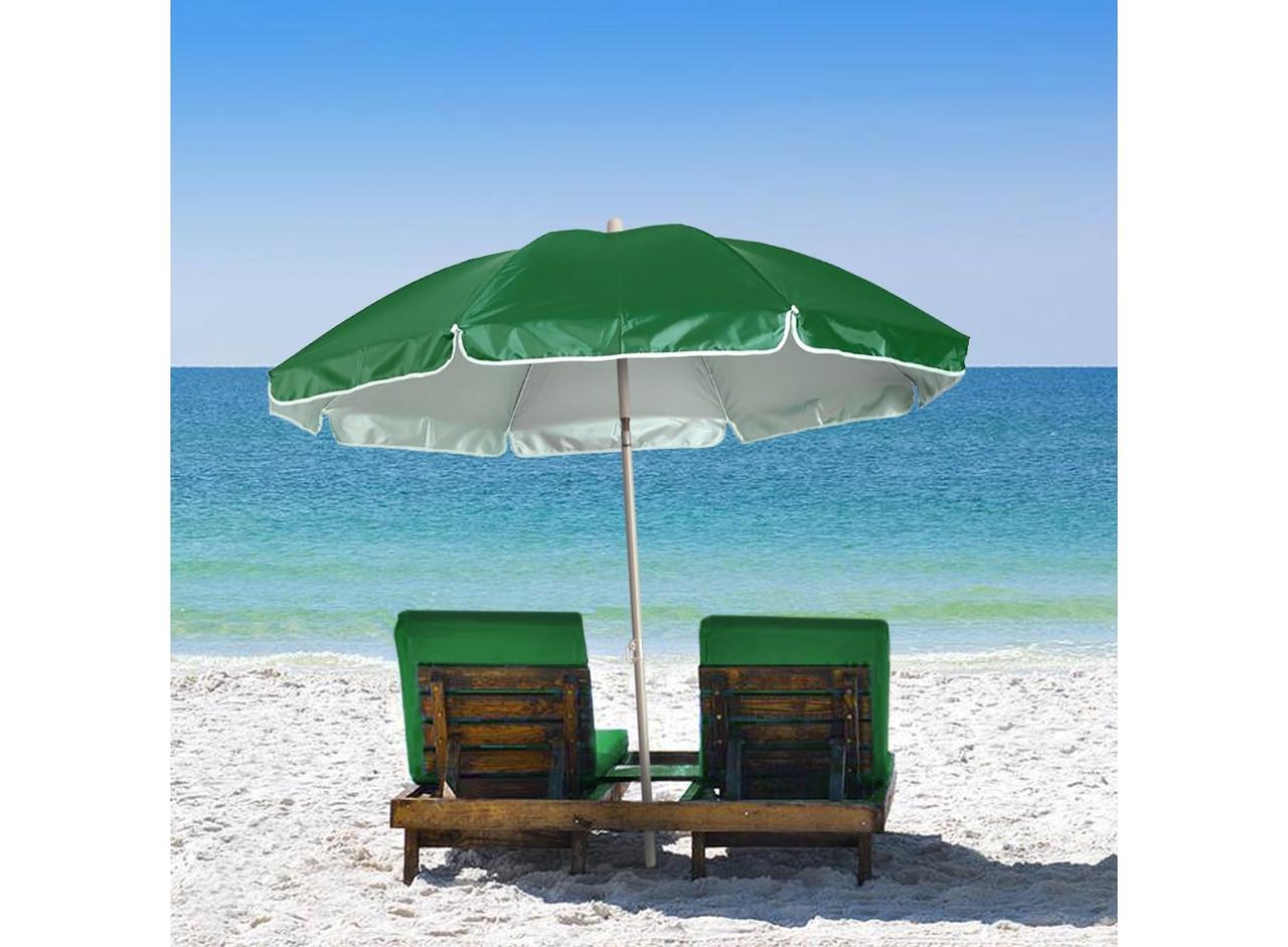Садовый зонт от солнца с наклоном зеленый, 1.6 м, большой пляжный зонтик с оборкой (GK)