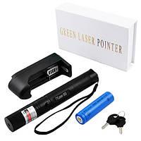 Лазерная указка зеленый лазер 532nm до 1000 мВт 1х18650 с насадкой звездное небо Green Laser UKC 303 черный