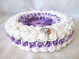 Свадебная подушечка для обручальных колец круглая из роз сиреневая и белая LA BEAUTY Studio Эксклюзив, фото 4