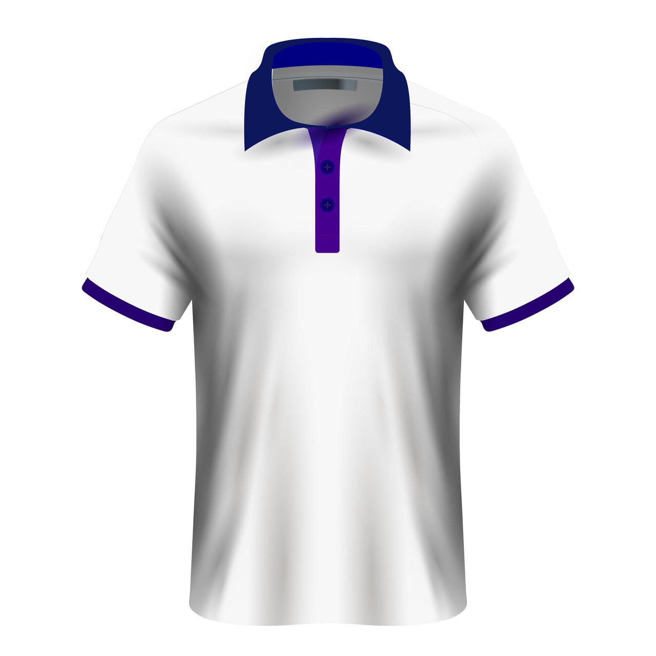 Мужская футболка поло для сублимации, белый/синий